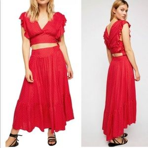Free people two piece red dress